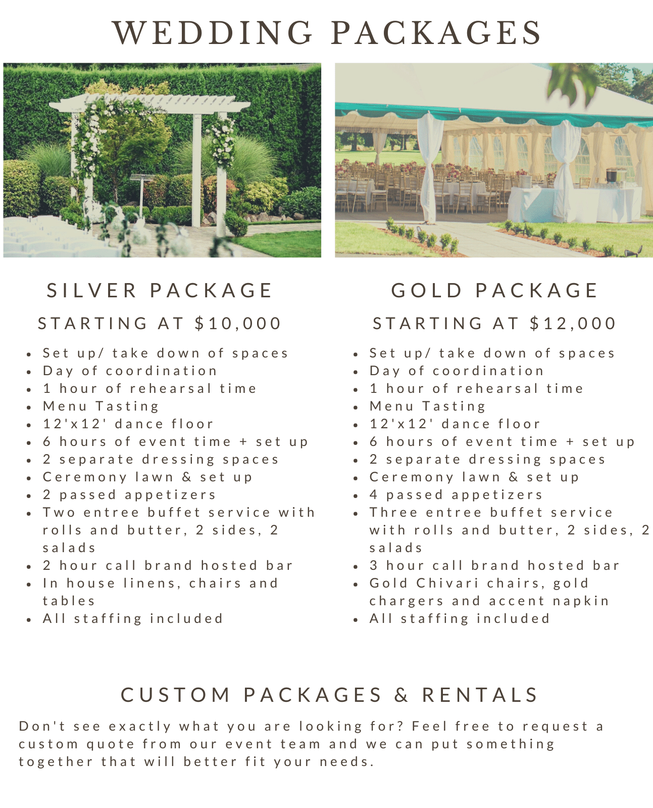 All-Inclusive and Custom Wedding Packages to Fit Every Need